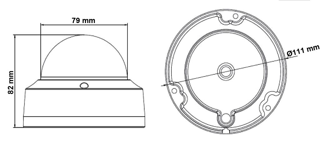 DS-2CD2120F-I - Wymiary kamery IP.