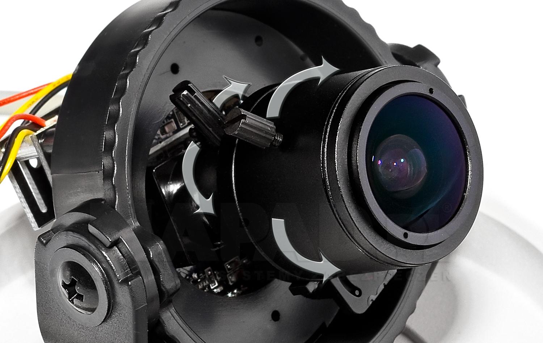 Regulowany obiektyw w kamerze VP330E IPOX.