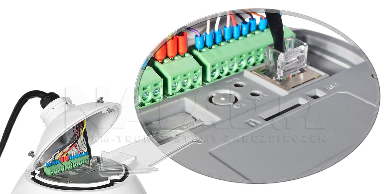 PX-SSDI 3020P - Dodatkowe złącza kamery i przycisk reset.