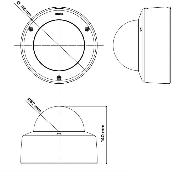 Wymiary kamery megapikselowej Canon VB M620D.
