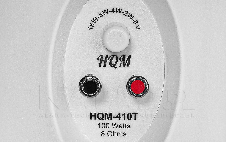 Regulator mocy oraz gniazda podłączeniowe w głośniku HQM410T.