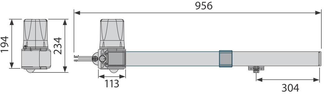 Wymiary siłownika podane w milimetrach.
