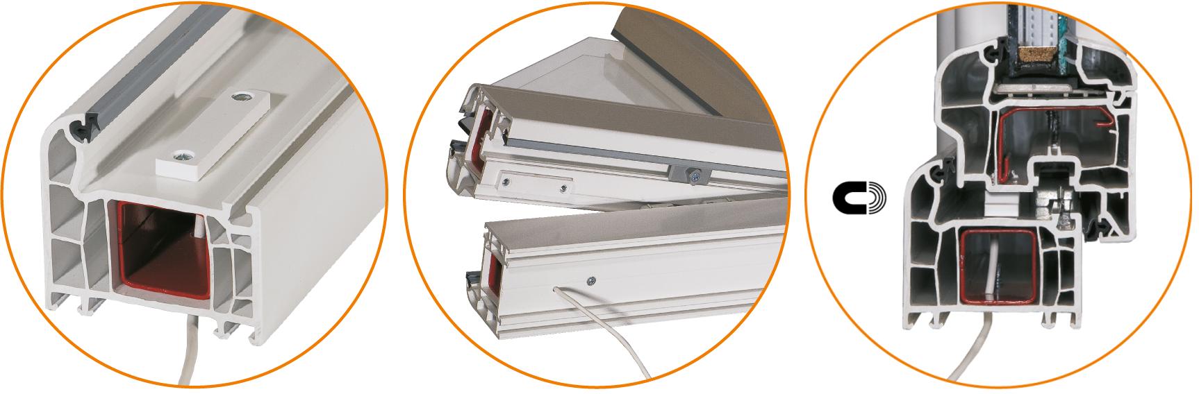 Przykładowy montaż kontaktronu magnetycznego MC 740P.