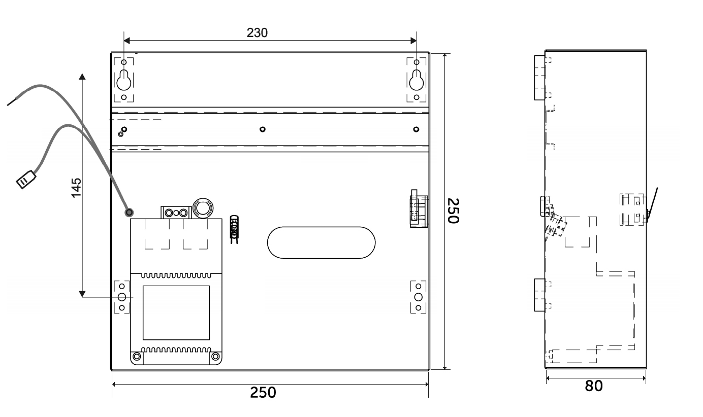 ME-14-40VA / ME-14-60VA - Wymiary obudowy.