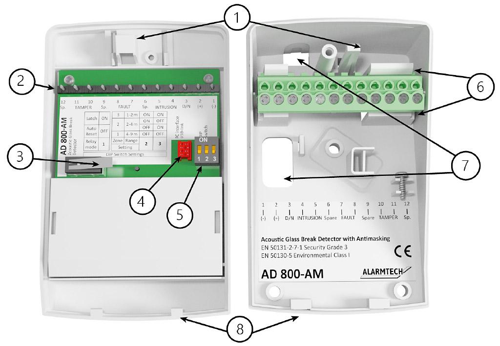 Opis wewnętrzny detektora AD 800-AM.