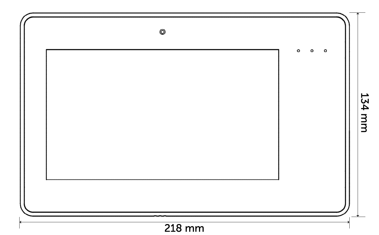 MD70 - Wymiary panelu graficznego.