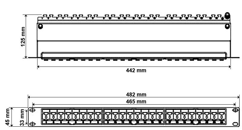 Wymiary patchpanelu FTP kat6a 24 porty.