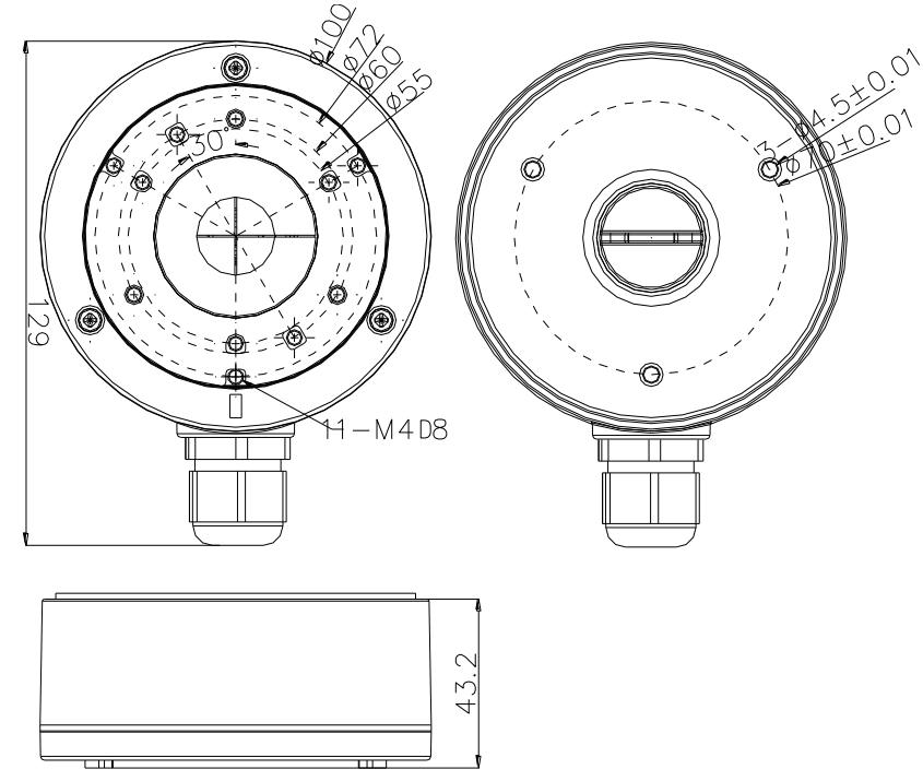 DS-1280ZJ-XS - Wymiary uchwytu podane w mm.