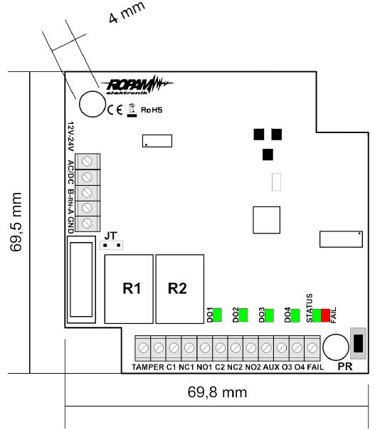 Wymiary odbiornika radiowego RF-4.