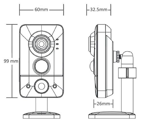 Wymiary kamery PX-CI 2028MS-E