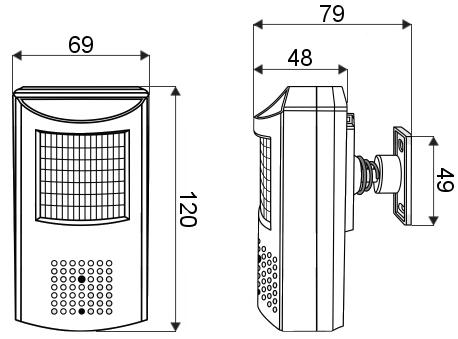 PX-PI2037-E - Wymiary kamery w milimetrach.
