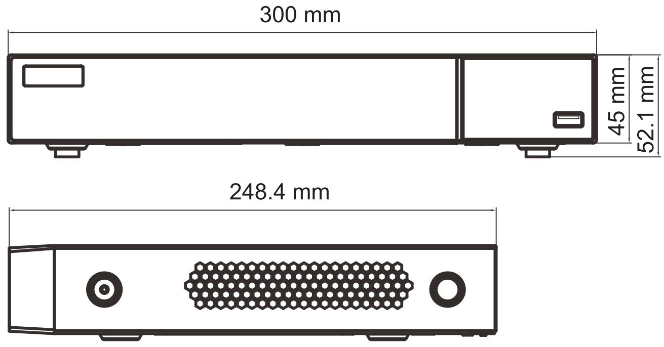 Wymiary rejestratora DVR IPOX.