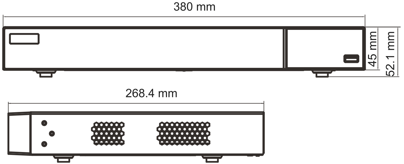 PX-HDR1622H - wymiary rejestratora.