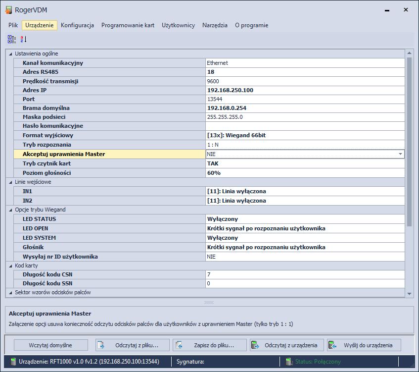 RogerVDM - konfiguracja urządzenia z poziomu PC.