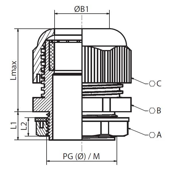 Rysunek techniczny dławnicy instalacyjnej.