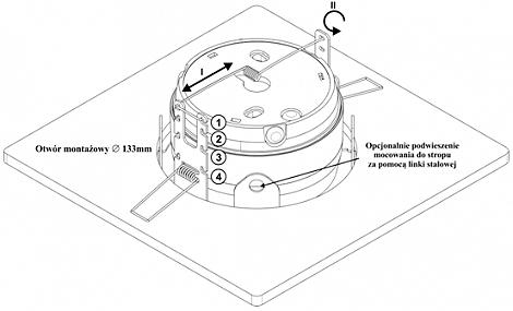 Schemat mocowania sygnalizatora w osłonie OM1.
