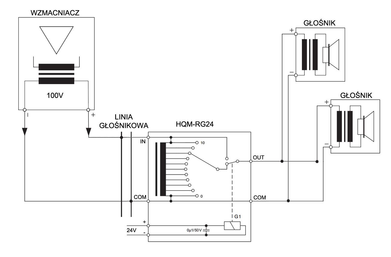 Schemat podłączenia regulatora głośności HQM RG24.