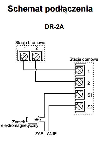 DR-2A - Schemat podłączenia stacji bramowej.