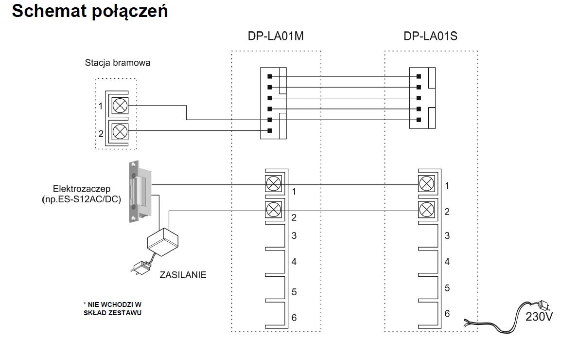 Schemat podłączenia zestawu unifonów DP-LA01.