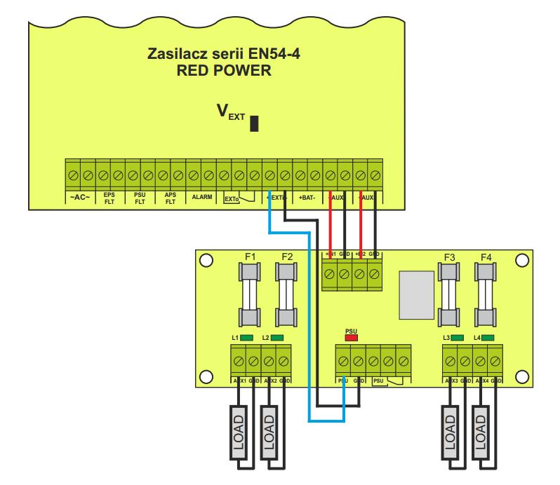 Schemat podłączenia modułu EN54-LB4 do zasilacza EN54.