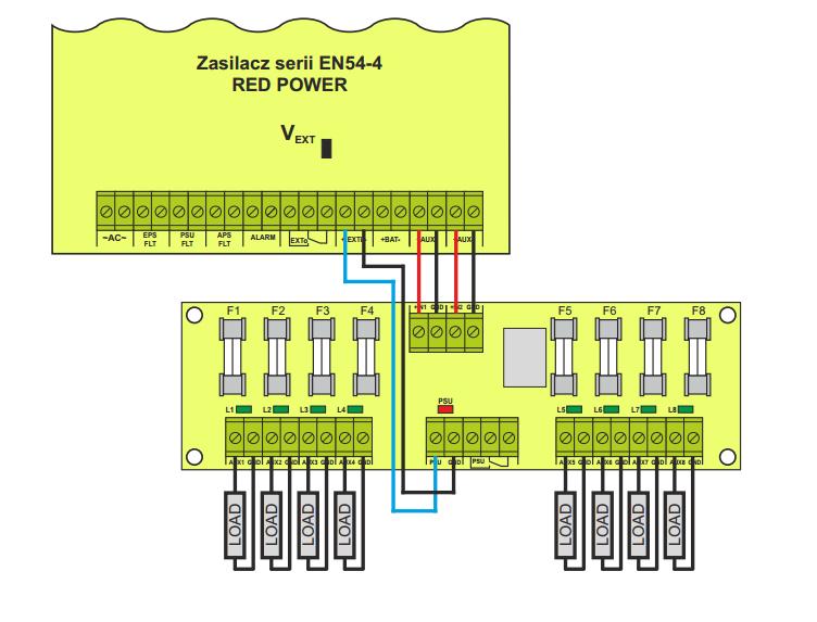 Schemat podłączenia modułu EN-LB8 do zasilacza EN54.