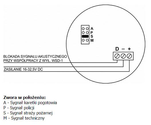 Schemat podłączenia sygnalizatora SA-K6.