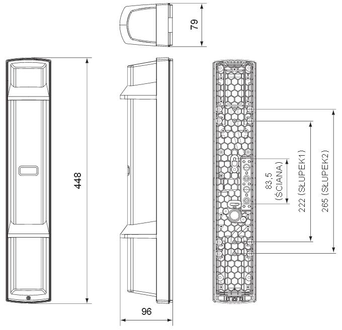 Bariera podczerwieni SL-350QN - wymiary