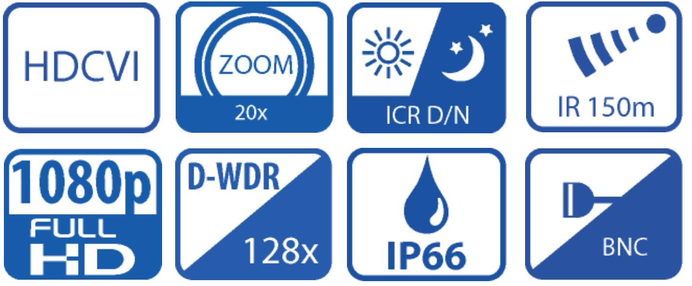 BCS-SDHC8220 - Ikonki specyfikacji kamery.