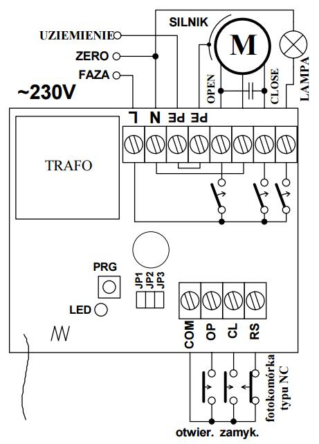 ST100HS - schemat podłączenia sterownika.