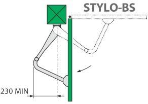 Specyfikacja instalacji siłownika Came STYLO-ME z ramieniem łamanym.