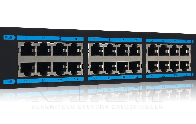 Wejścia POE w switchu IPOX SW224E-POE-L2.