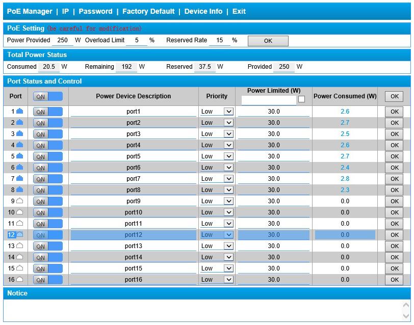 PX SW16 TP300 U3G - Interfejs graficzny zarządzania switcha.