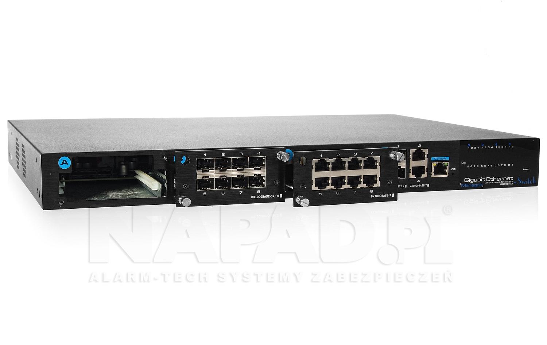 Gigabitowy switch SW28GE-MX wraz z modułami RJ-45 i SFP.