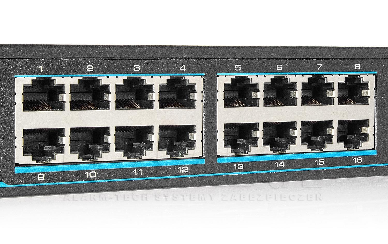 Wejścia POE w switchu IPOX PX-SW16-TP300-U2G.