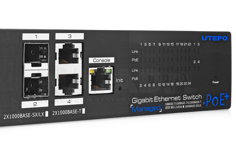 UTP7524GE-POE-A1 - Porty Uplink w switchu PoE IPOX.