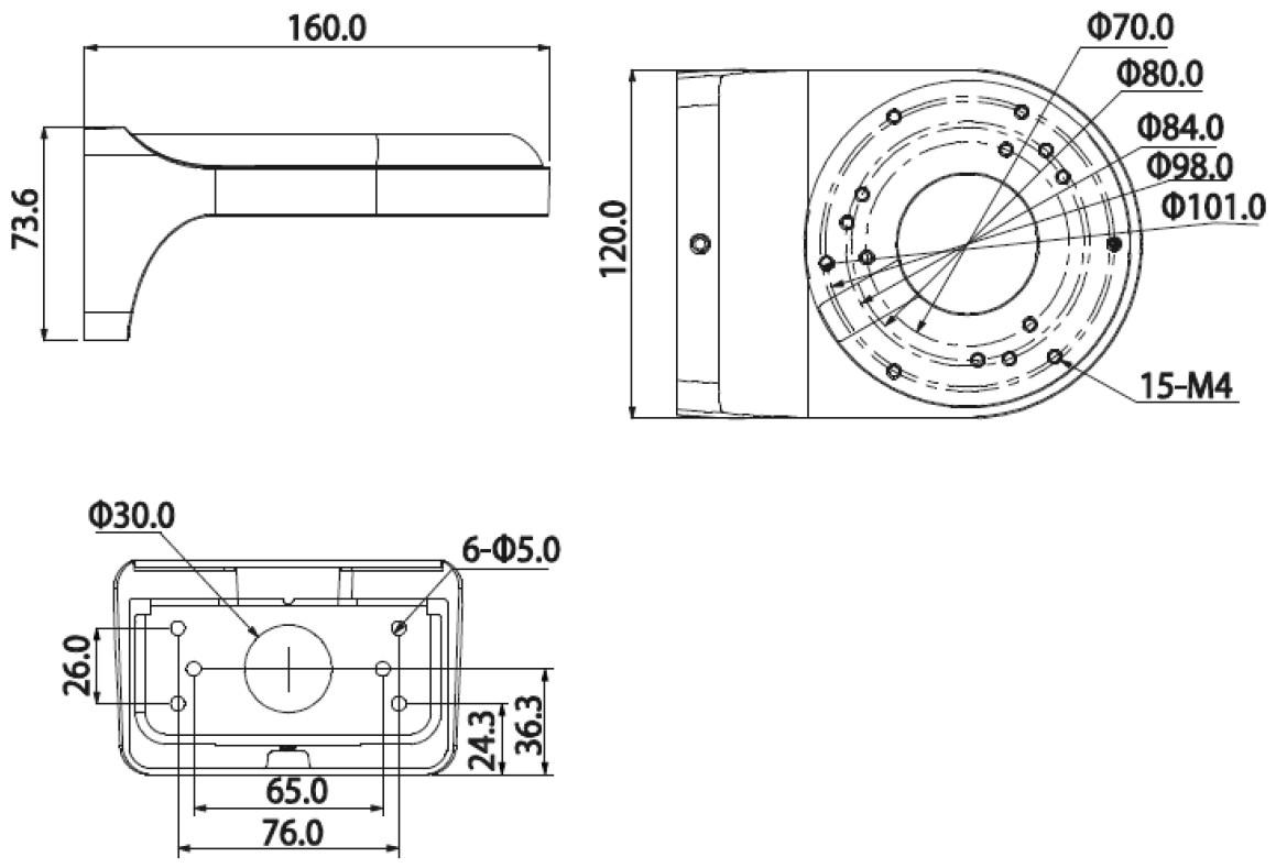 UD1 - Wymiary uchwytu podane w milimetrach.