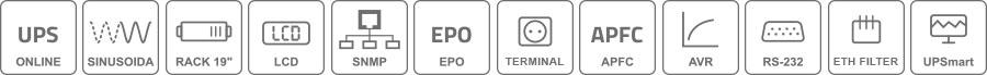 Właściwości zasilacza UPS10000RT RACK