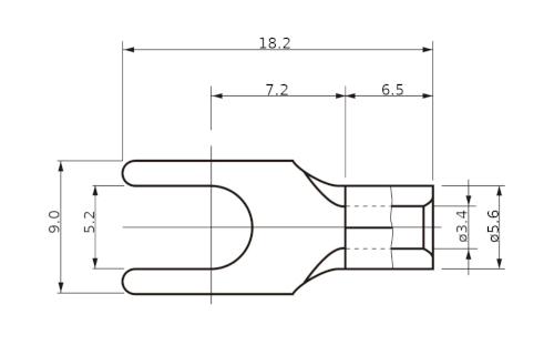 Wymiary - końcówka widełkowa 5.5Y-5
