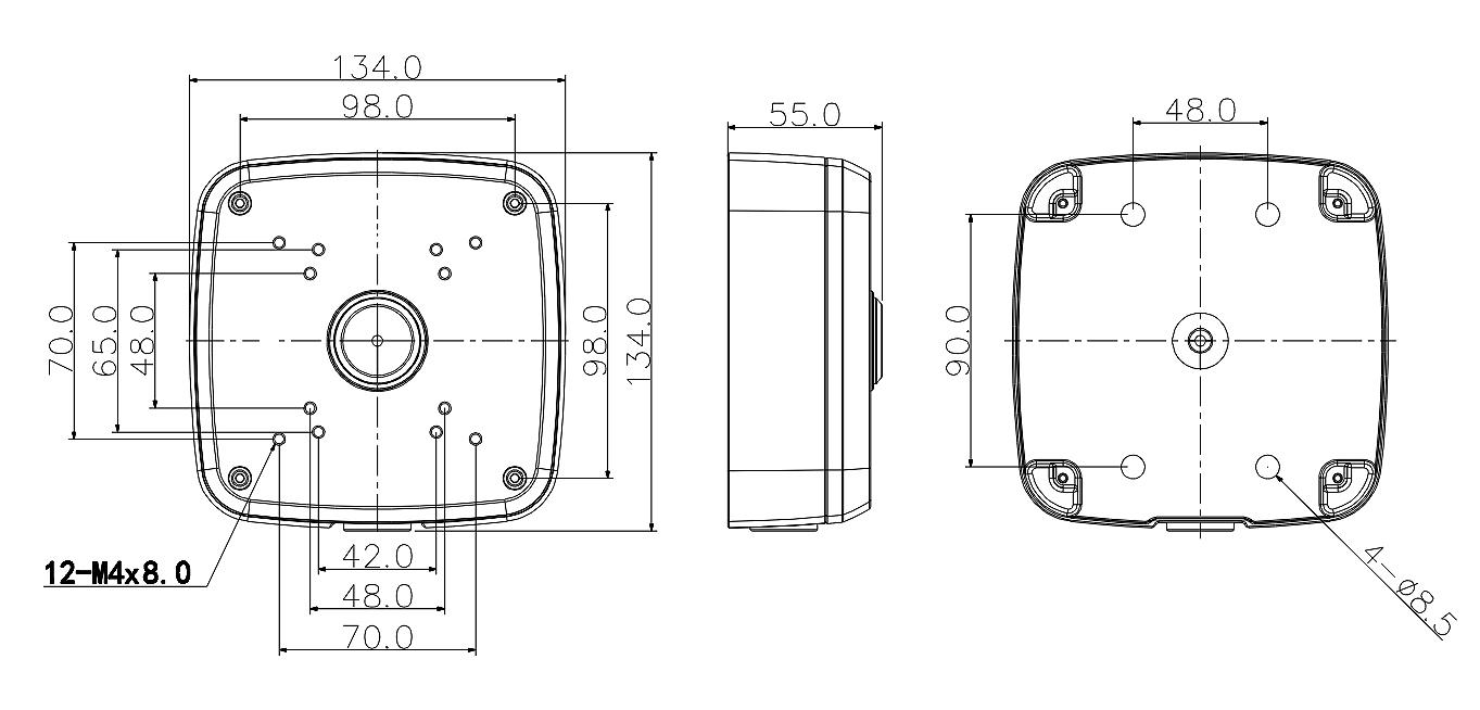 Wymiary adaptera tubowego BCS AT48.