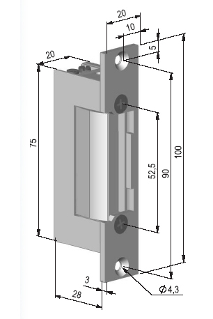 Wymiary elektrozaczepu BeFo 1211.