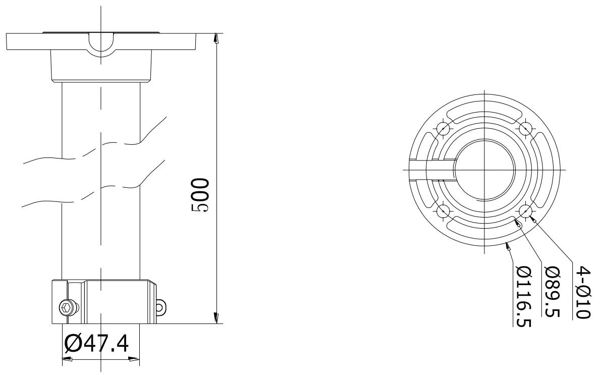 DS-1662ZJ - Wymiary uchwytu.