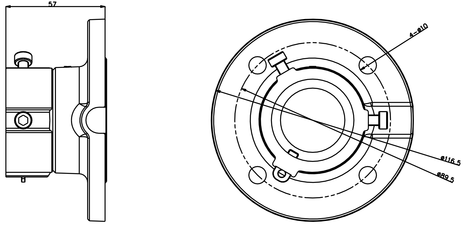 DS-1663ZJ - Wymiary uchwytu.
