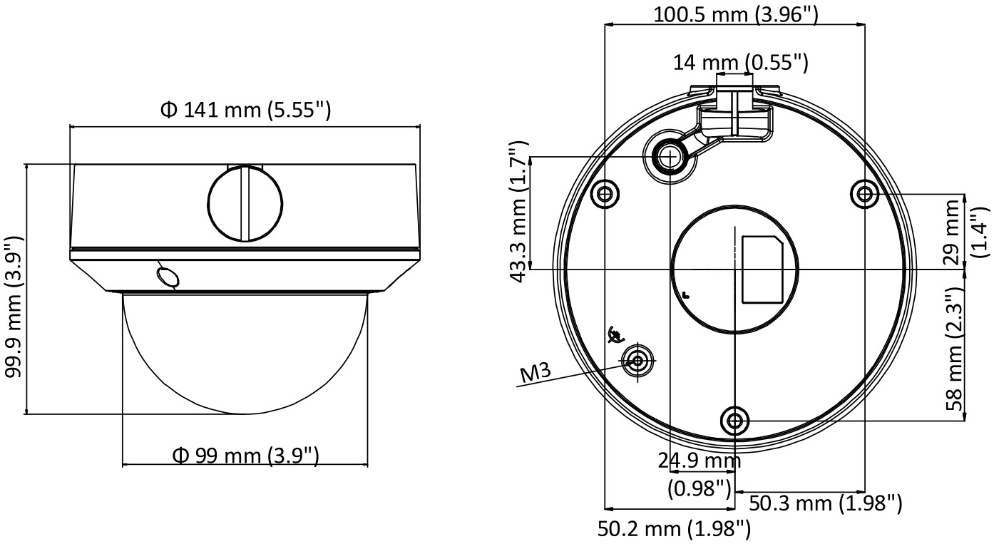 DS-2CD1723G0-IZ - Wymiary kamery.