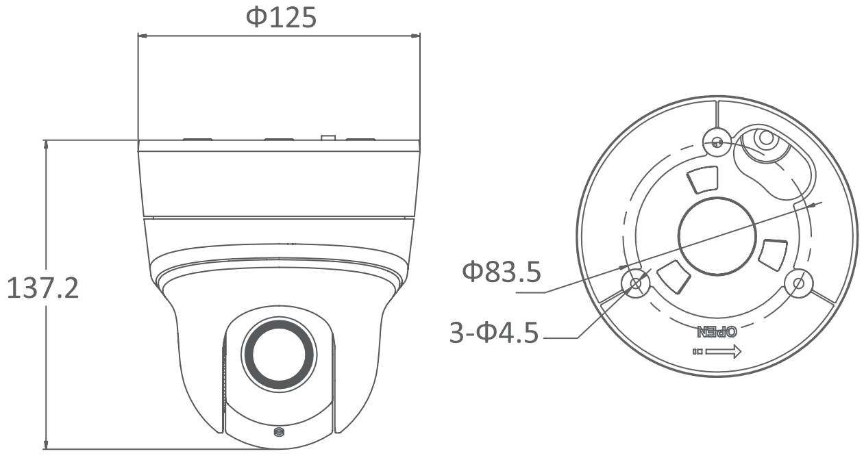 DS-2DE2204IW-DE3 - Wymiary kamery IP PTZ.