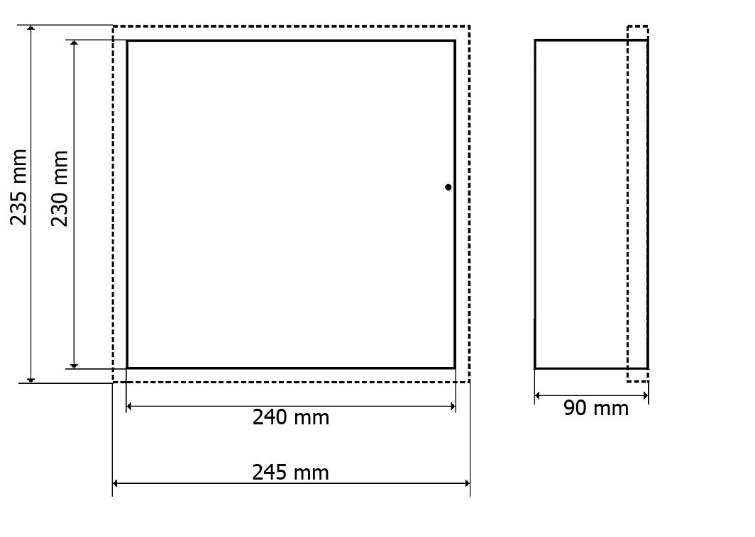 Wymiary metalowej obudowy OR3-D.