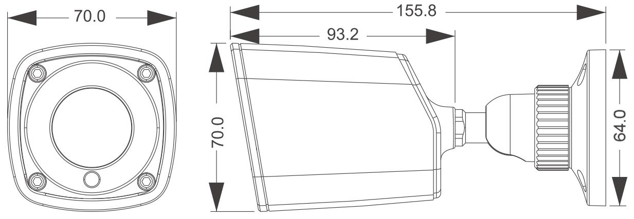 PX-TH4024-P - Wymiary kamery podane w mm.