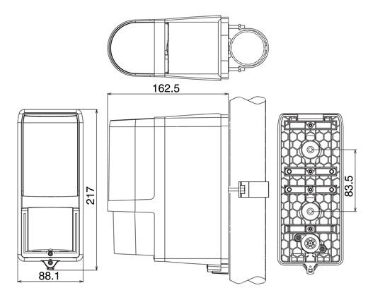 Wymiary obudowy bariery AX-100TFR