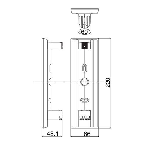 Wymiary uchwytu BA-1W podane w milimetrach.