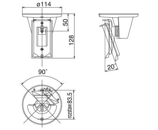 Wymiary uchwytu CA-2C podane w milimetrach.