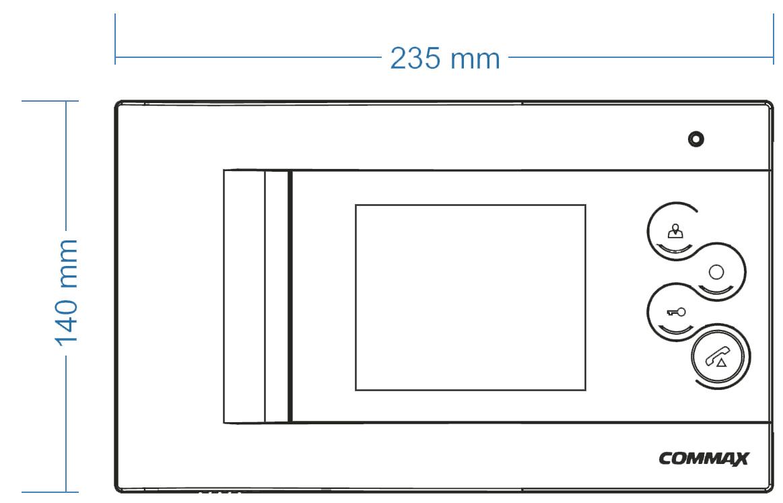 Wymiary monitora CDV-43Q COMMAX.